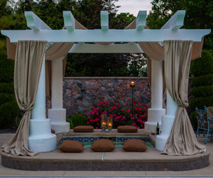 curtains, cushions, and pool image