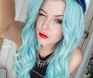 azul, blue hair, and girls image