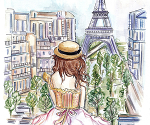 paris, girl, and drawing image