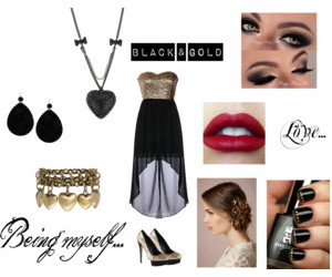 outfit, Polyvore, and black & gold image
