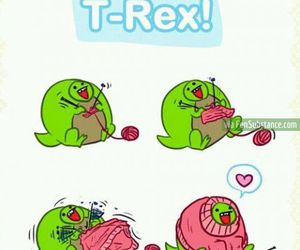 t-rex, funny, and knitting image