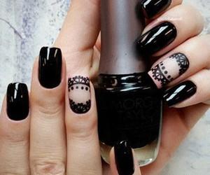 black nails, nail art, and nails image