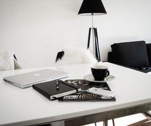 white, black, and interior image