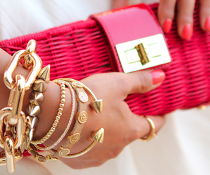 fashion, pink, and gold image