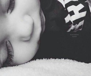 adorable, baby, and black and white image