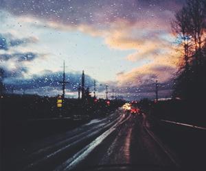 rain, sky, and road image