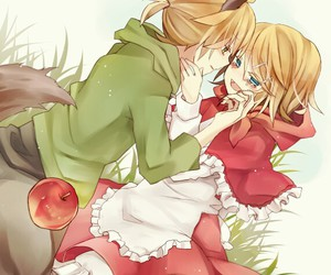 red riding hood, vocaloid, and wolf image