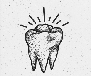 art, tooth, and black and white image