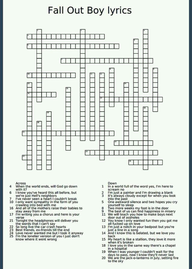 here's a fall out boy crossword for you all c: //killjoysandstuff//