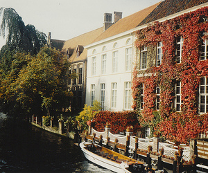 house, river, and flowers image