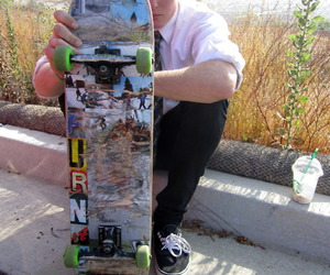 blonde, skate board, and classy image