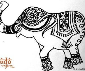 elephant, henna, and tattoo image