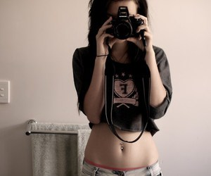 belly button piercing, piercing, and naked image