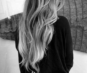 black & white, girl, and hair image