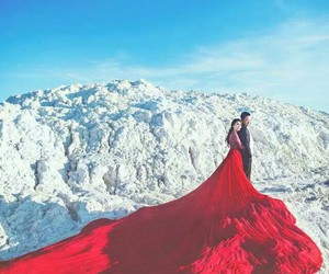 red dress, wedding dress, and pre wedding image