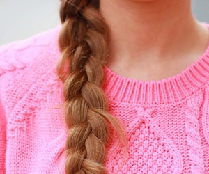 hair, pink, and sweater image