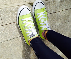 all star, converse, and yellowgreen image