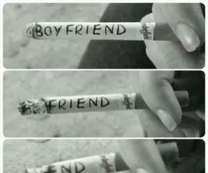 black and white, boyfriend, and cigarette image