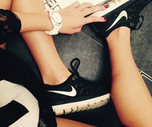 girls, nike, and trainers image