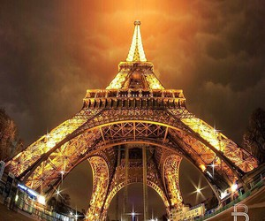 paris, eiffel tower, and light image