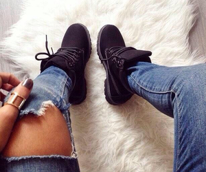 city, black timberlands, and girl image