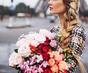 paris, flowers, and hair image