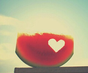 food, watermelon, and heart image