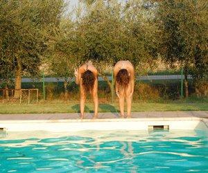 girls, hair, and swimming pool image