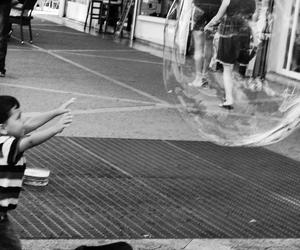 b&w, bubble, and girl image