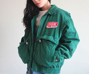green, jacket, and pale image
