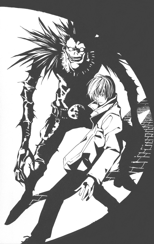 death note, anime, and monochrome image