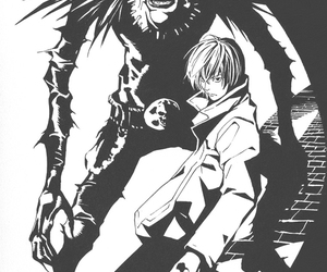 anime, death note, and monochrome image