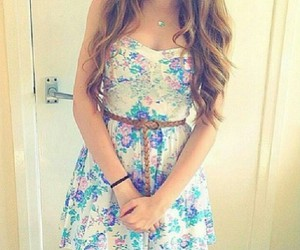 curly, flower, and dress image