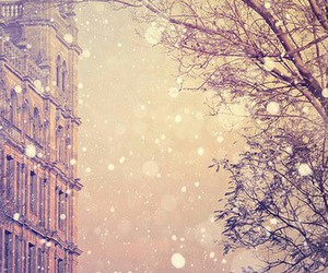 city, snowing, and travel image