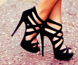 black, smile, and heels shoes image