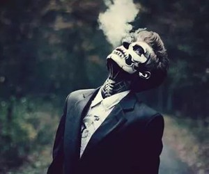 boy, smoke, and skeleton image