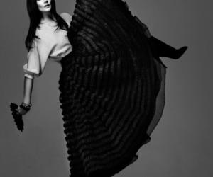 black and white, fan, and skirt image