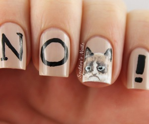 nails, cat, and girl image