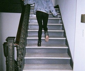 grunge, girl, and stairs image