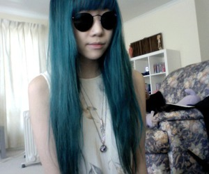asian, cute, and blue hair image