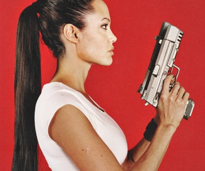 gun, model, and red image