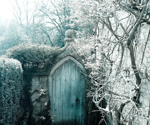 winter, door, and snow image