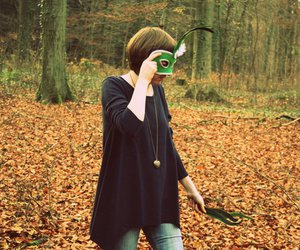 autumn, fall, and mask image