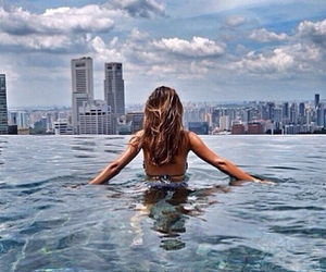 girl, sky, and water image