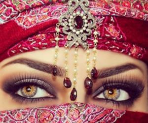 eyes, hijab, and makeup image