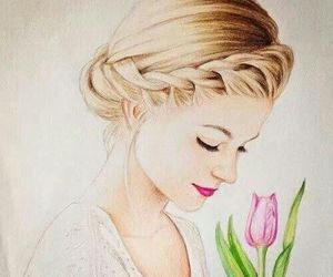 girl, drawing, and flowers image
