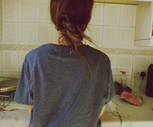 girl, kitchen, and hair image