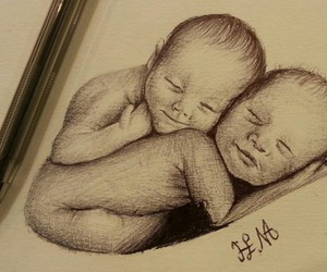 art, baby, and drawing image