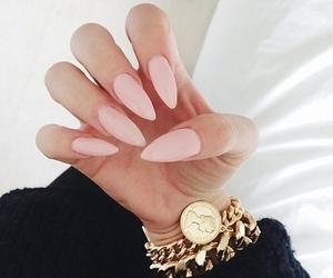 nails, pink, and gold image