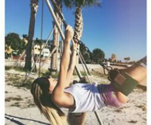 palmtrees, swinging, and skateboard image